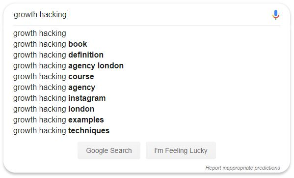 Growth Hacking Google search