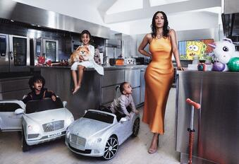Kim Kardashian poses with her children for Vogue photoshoot