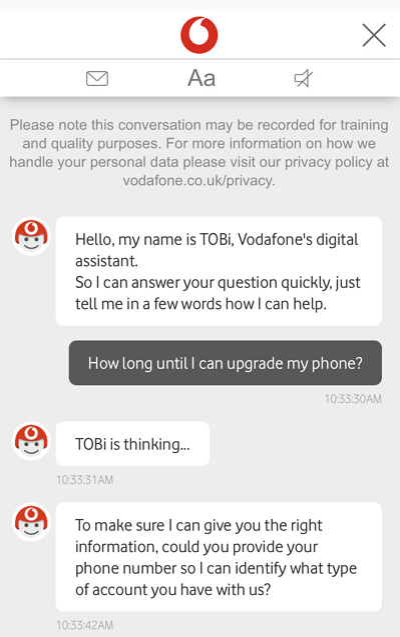 Vodafone chatbot