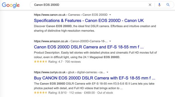 canon camera rich snippet search result