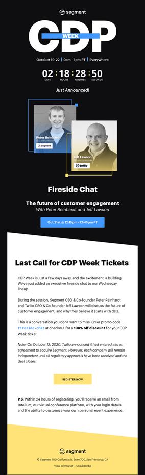 Segment Event email example