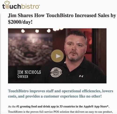 TouchBistro Email Video Marketing Testimonial