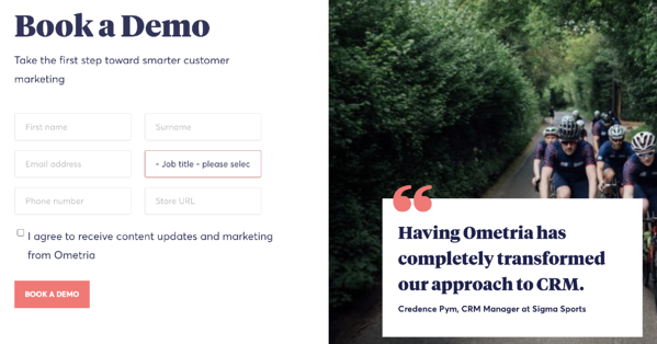 Book a demo landing page