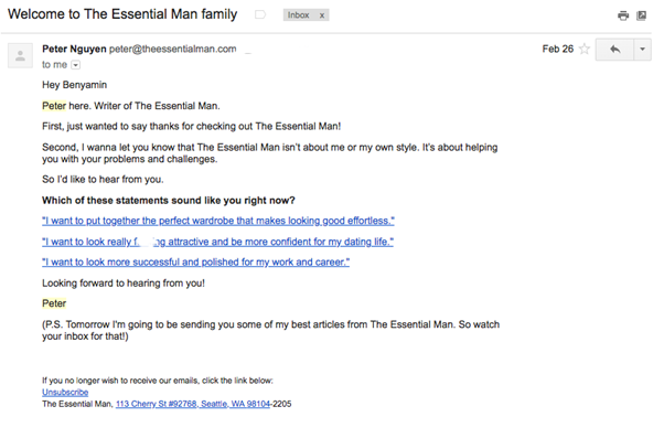 The Essential Man Welcome Email